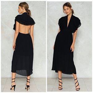 Nasty Gal black pleated maxi dress